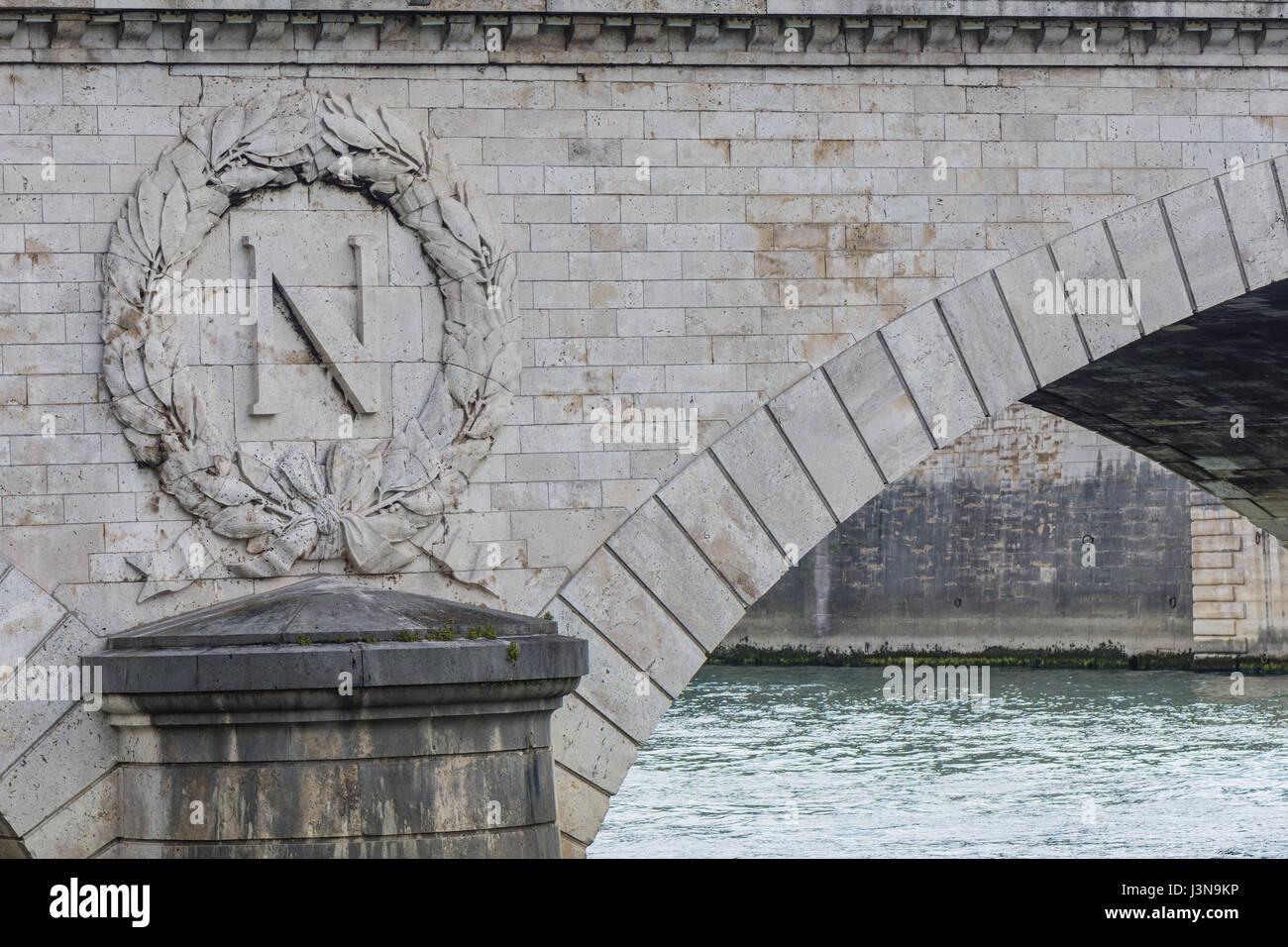 Paris, France 29th Paril 2017: Pont au change bridge on the Seine river in Paris with Napoleon symbol - Stock Image