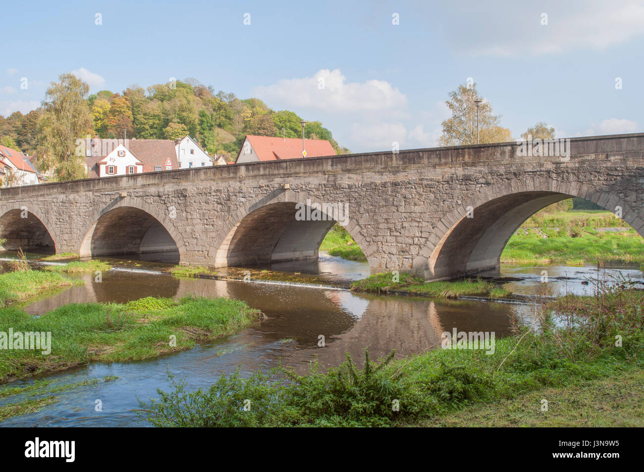 stone bridge, jagst Valley, kirchberg, Schwaebisch Hall, Hohenlohe region, Baden-Wuerttemberg, Heilbronn-Franconia, - Stock Image