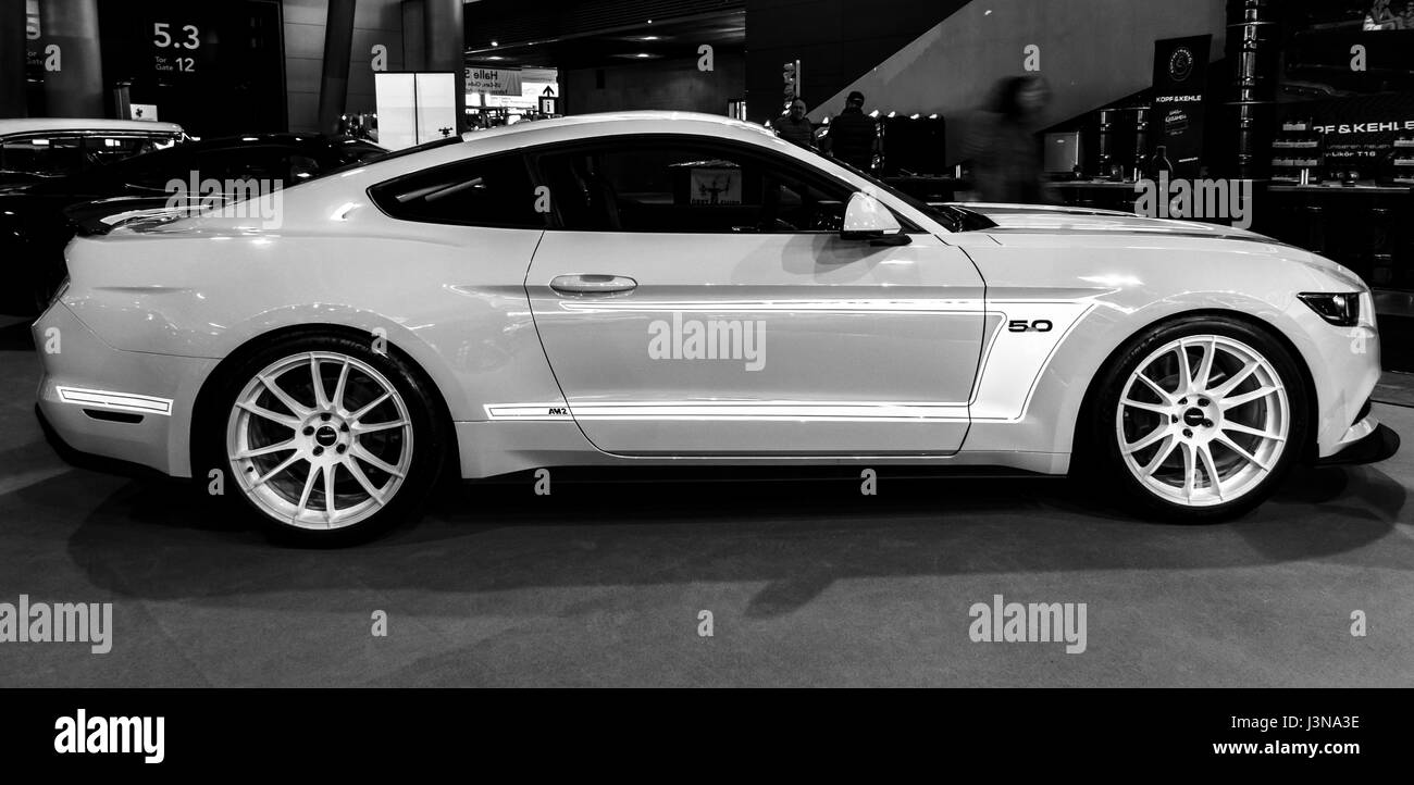 Stuttgart germany march 03 2017 pony car ford mustang gt am2 fastback coupe 2016 black and white europes greatest classic car exhibition retro