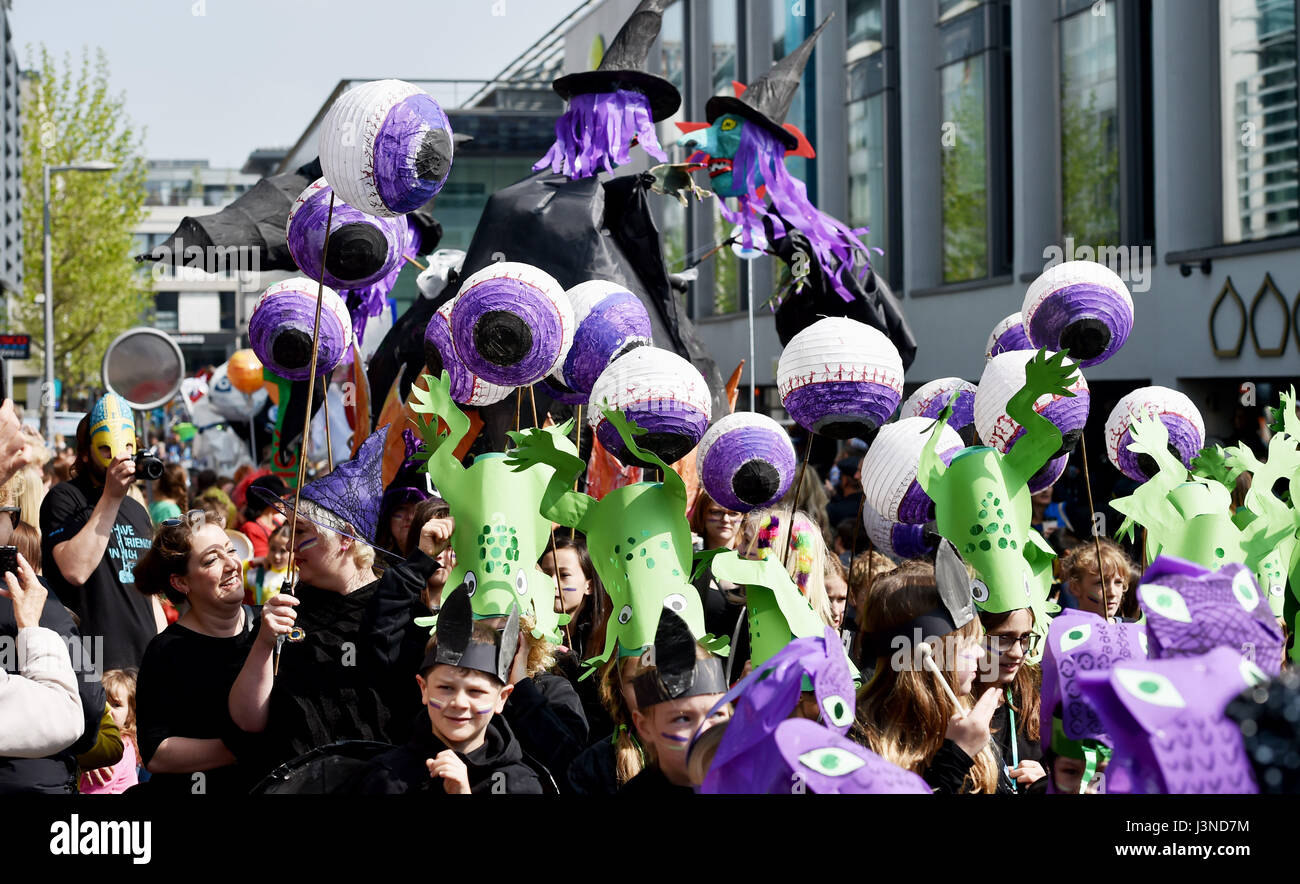 Brighton UK 6th May 2017 - Over 5000 participants enjoy the beautiful sunny weather as they take part in the Brighton Festival Children's Parade interpreting this years theme of Poetry in Motion . The annual procession organised by the Same Sky artsgroup is the traditional opening event of the arts festival with this years guest director being Kate Tempest the poet performer and playwright Photograph taken by Simon Dack Stock Photo