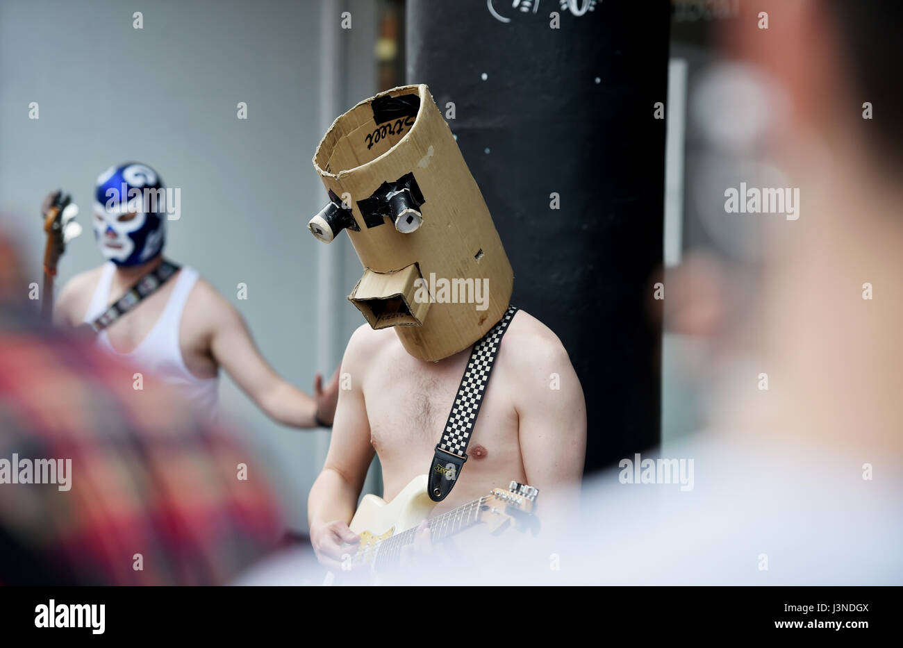 Brighton, UK. 6th May, 2017. Gorillabot a masked rock band performing in North Street Brighton as part of the Brighton - Stock Image