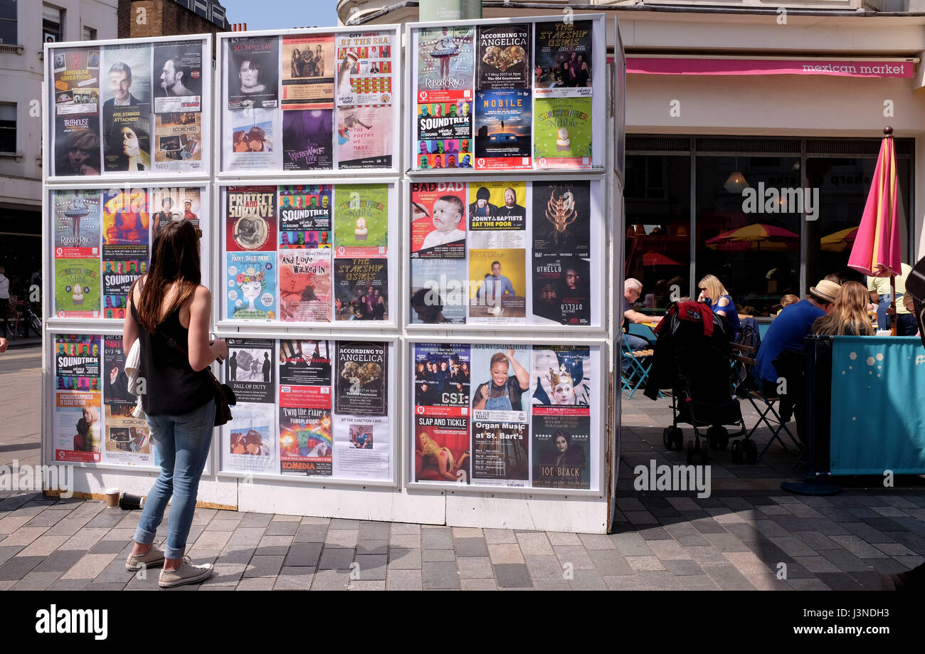Brighton, UK. 6th May, 2017. The information wall at Brighton Festival Fringe City events today Credit: Simon Dack/Alamy Live News Stock Photo
