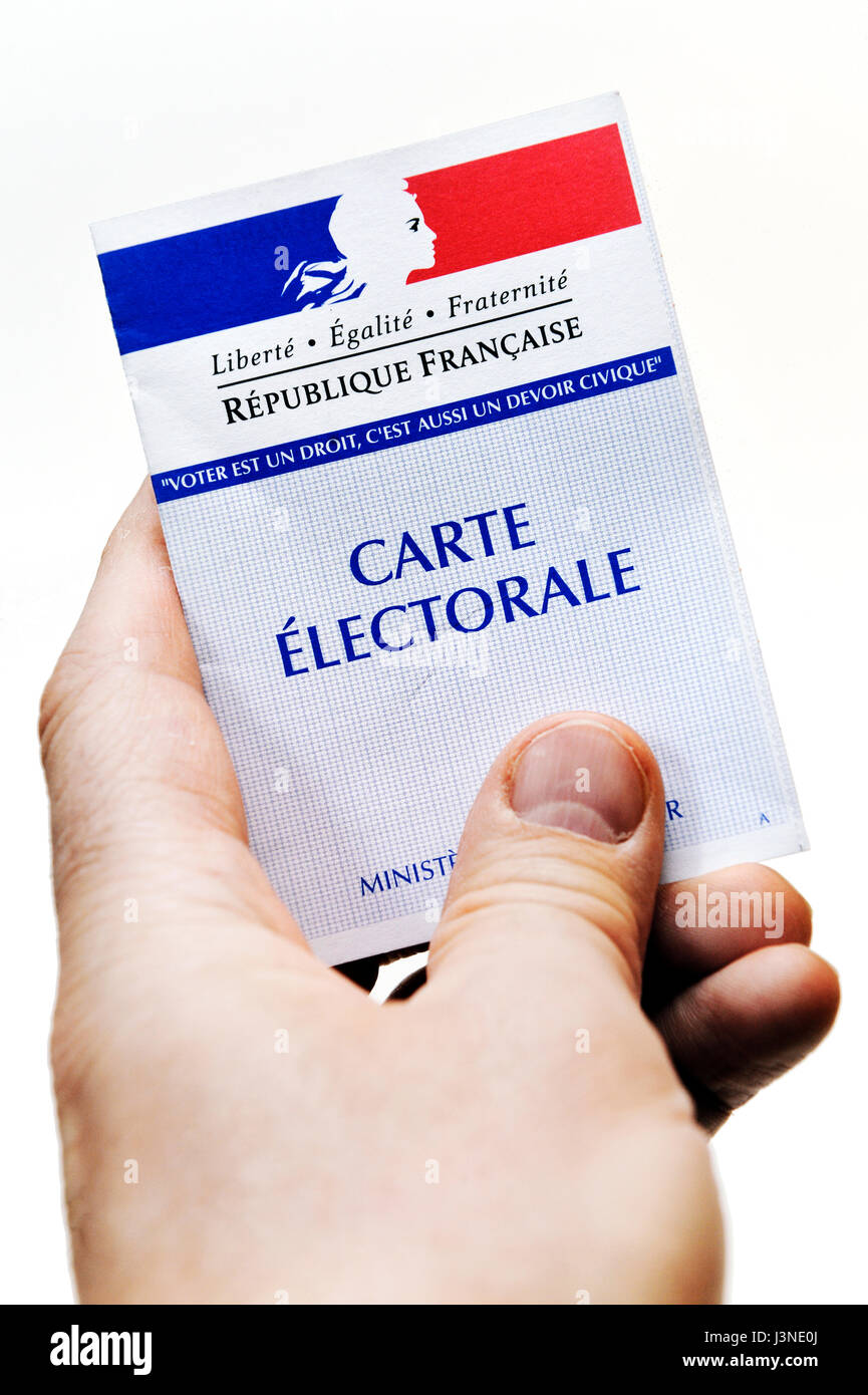 French polling card for 2017 presidential elections - Stock Image