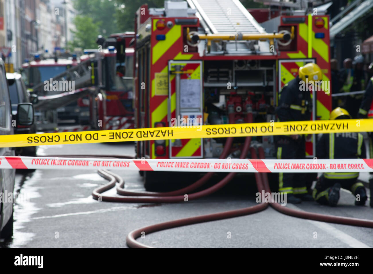 London, UK. 6th May, 2017. Fire on Long Acre near Covent Gardens, London. Several fire engines attended the fire - Stock Image