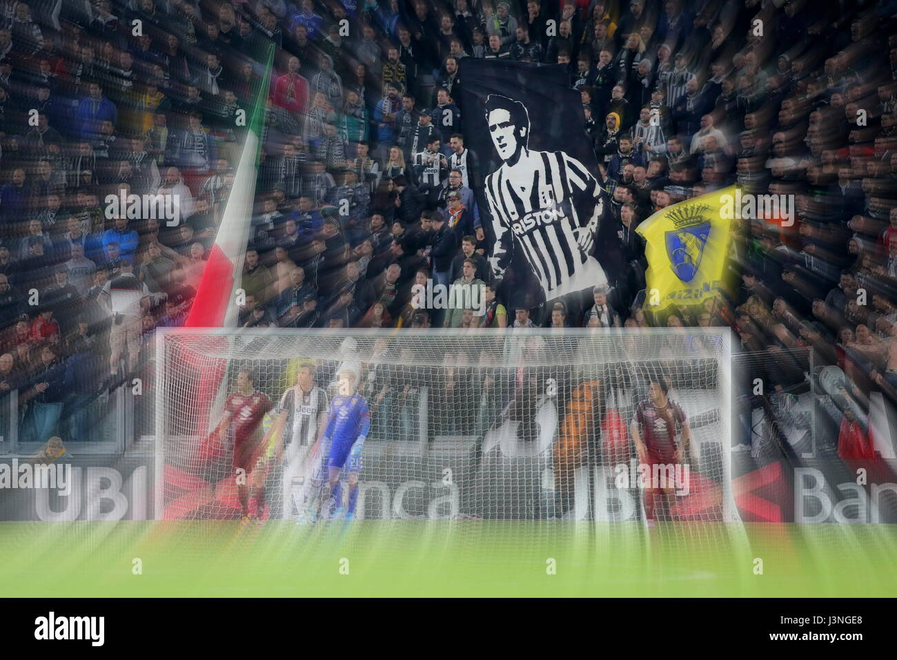 Turin, Italy. 6th May, 2017. The Juventus fans' banner reminds Gaetano Scirea, the historic captain of the Bianconeri Stock Photo