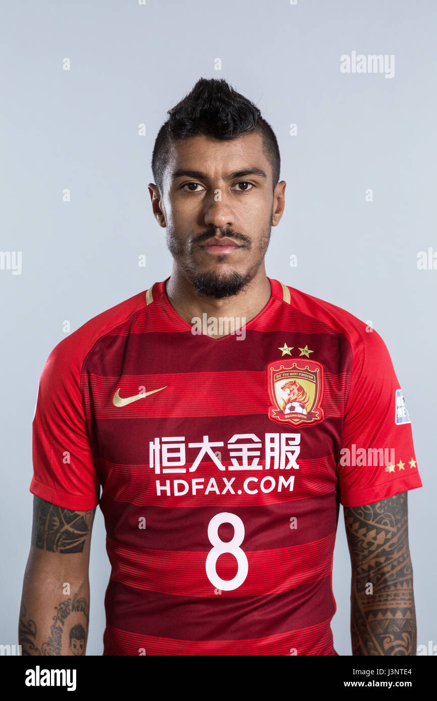3a000f225 Portrait of Brazilian soccer player Paulinho of Guangzhou Evergrande Taobao  F.C. for the 2017 Chinese Football Association Super League