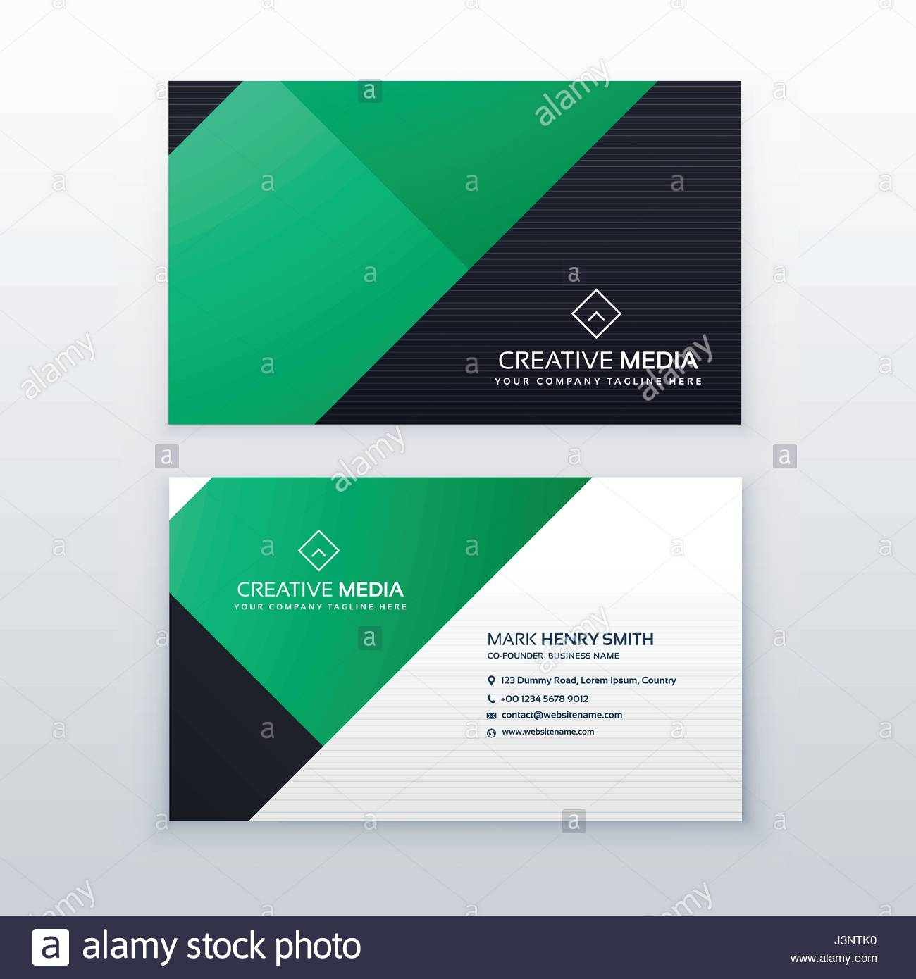 Minimal green geometric business card design template stock vector minimal green geometric business card design template reheart
