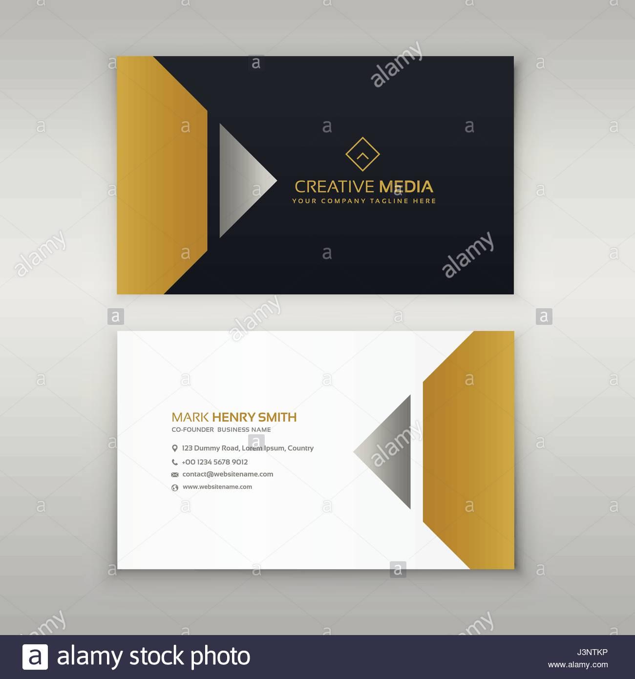 premium business card design in golden theme Stock Vector Art ...