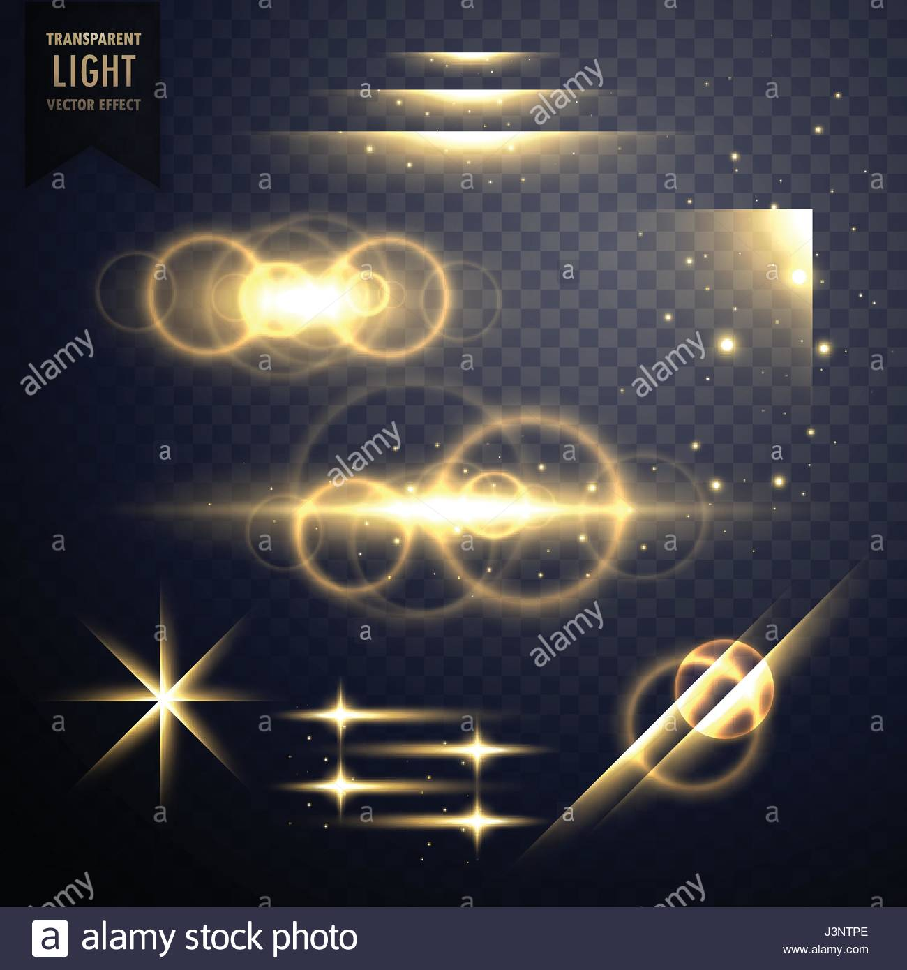 transparent light effect and lens flare collection Stock Vector