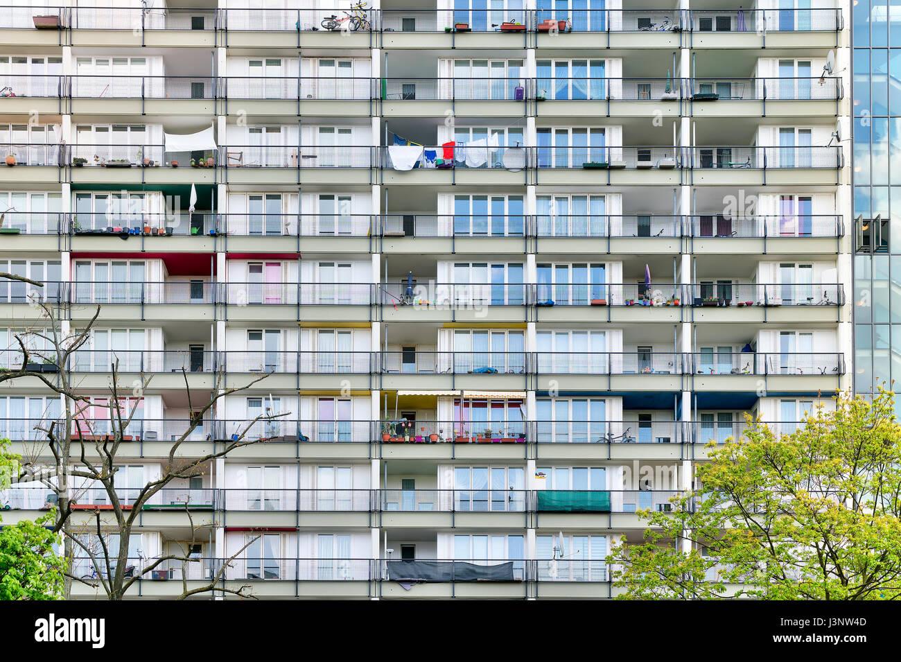 social housing, details of a skyscraper in Berlin - Stock Image