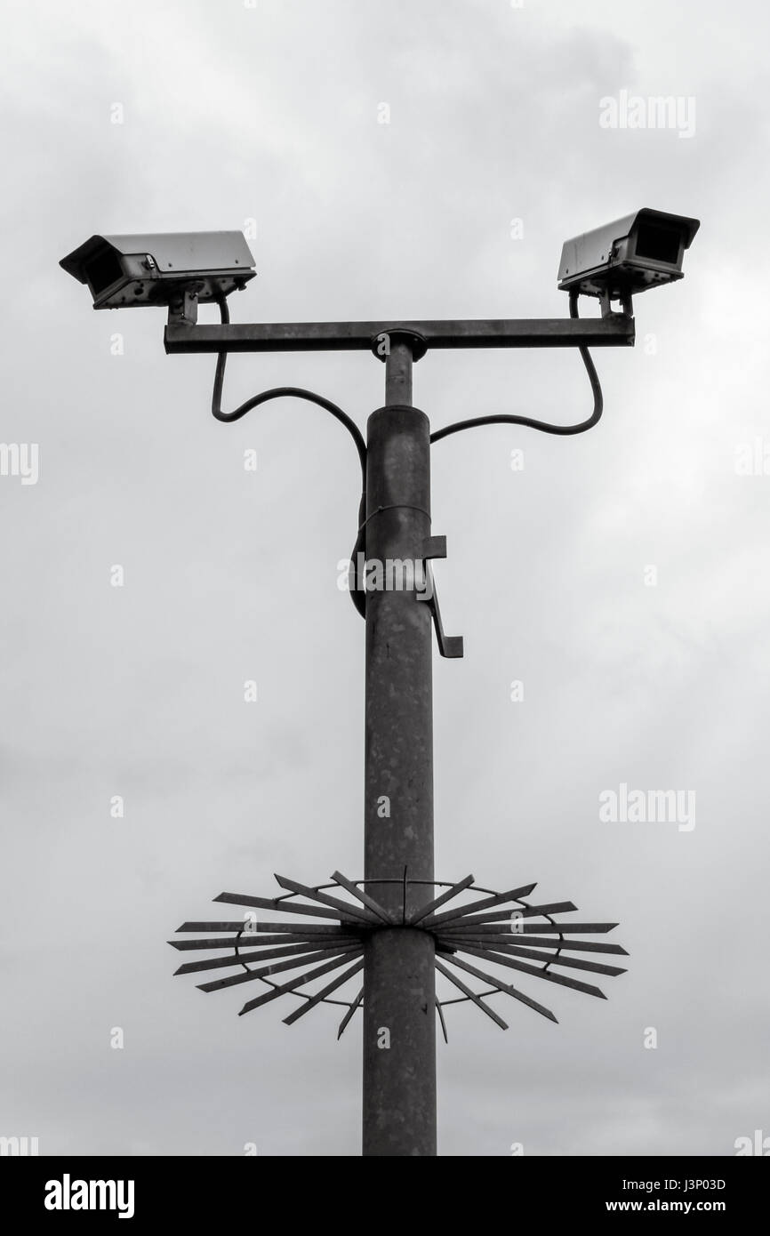 Security CCTV cameras mounted on a tall metal pole with anti-climb device Stock Photo