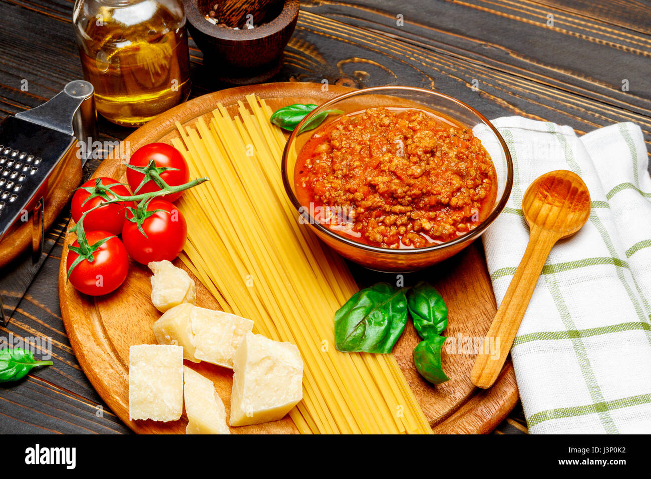 Spaghetti bolognese sauce and ingridients - Stock Image