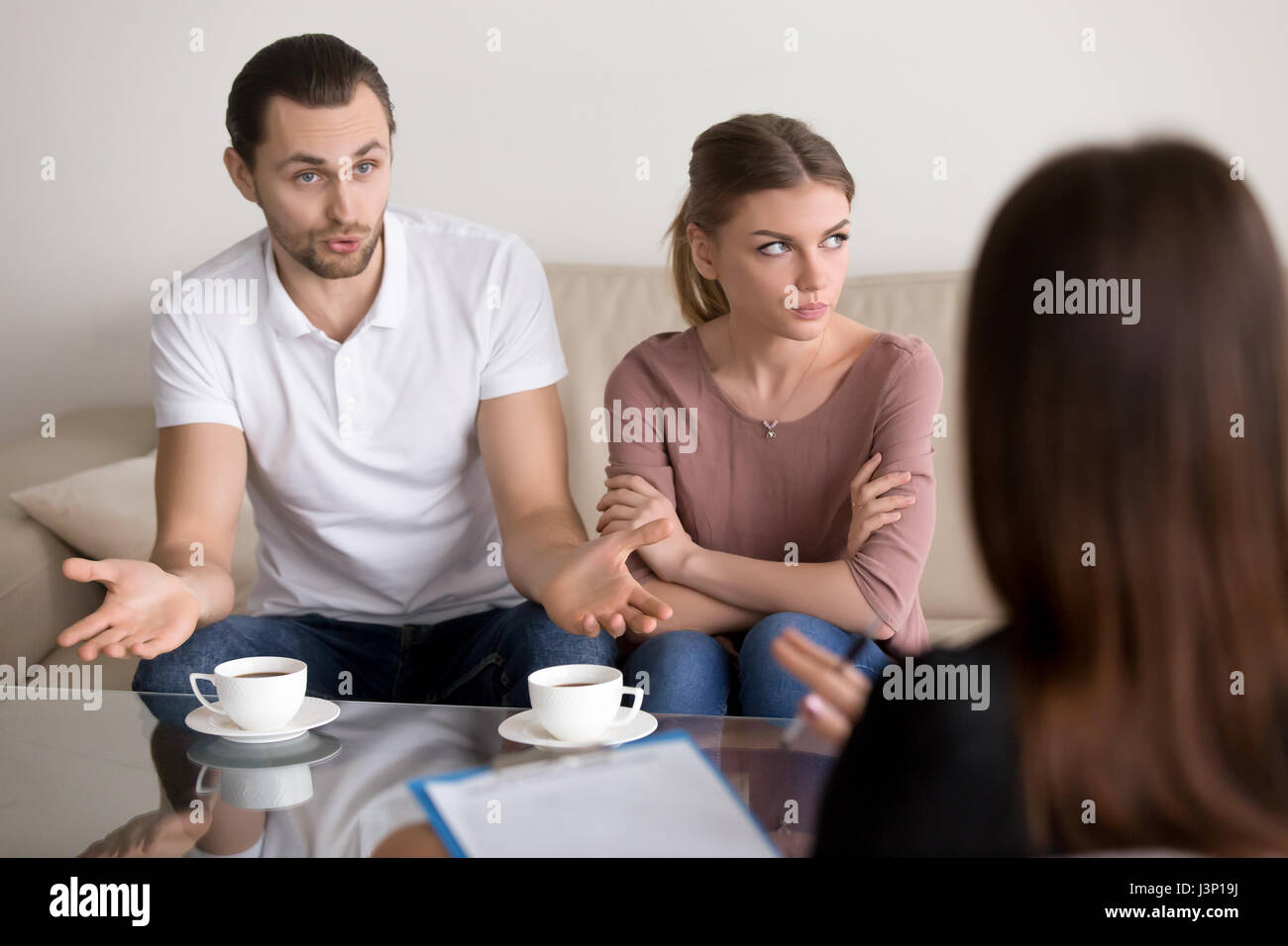 Couple counseling family psychologist, man talking to psychother - Stock Image