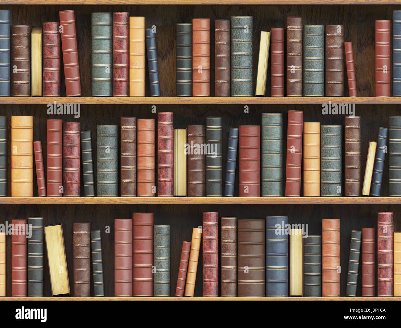 Vintage Books On Bookshelf Old Tiled Seamless Texture Background Vertically And Horizontally 3d Illustration