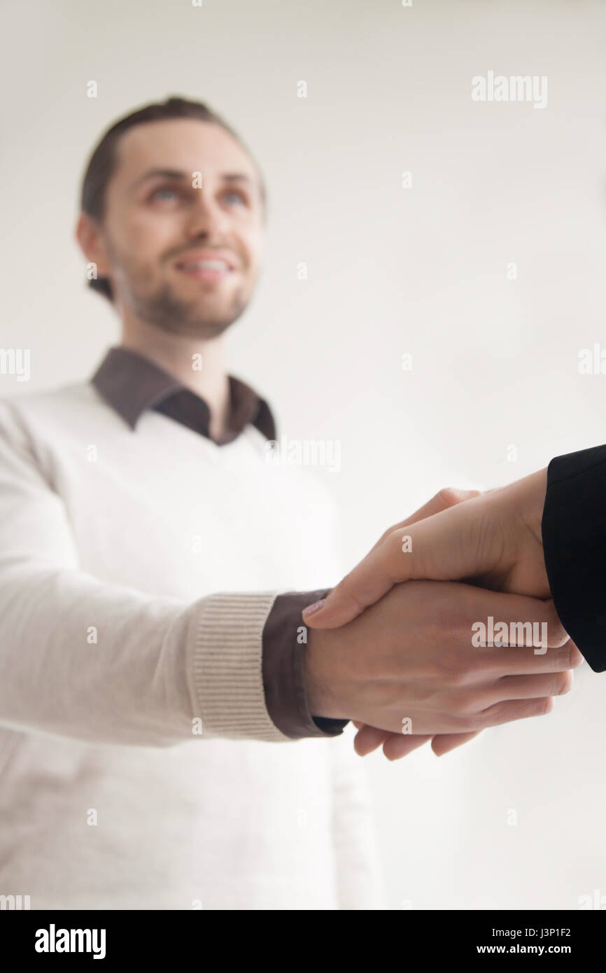 Business greeting handshake, shaking hands with partner, client, - Stock Image