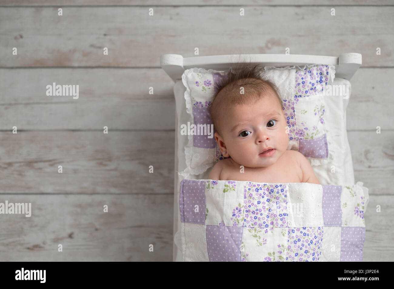 An overhead shot of a four month old, alert, baby girl. She is lying in a tiny bed and looking up at the camera. - Stock Image