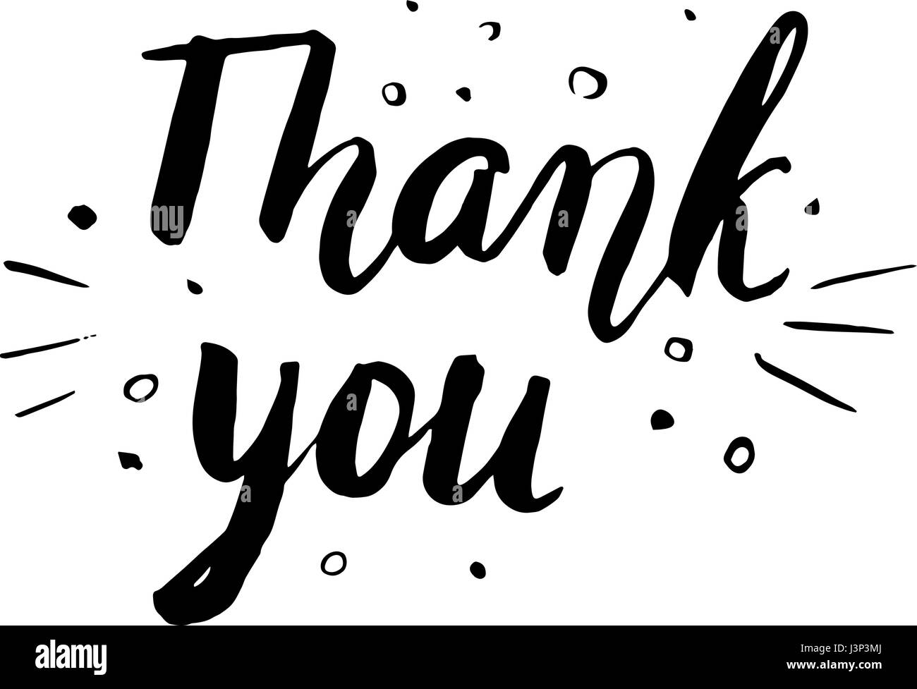 Thank You. Hand drawn lettering. Can be used for card. Vector illustration. - Stock Vector