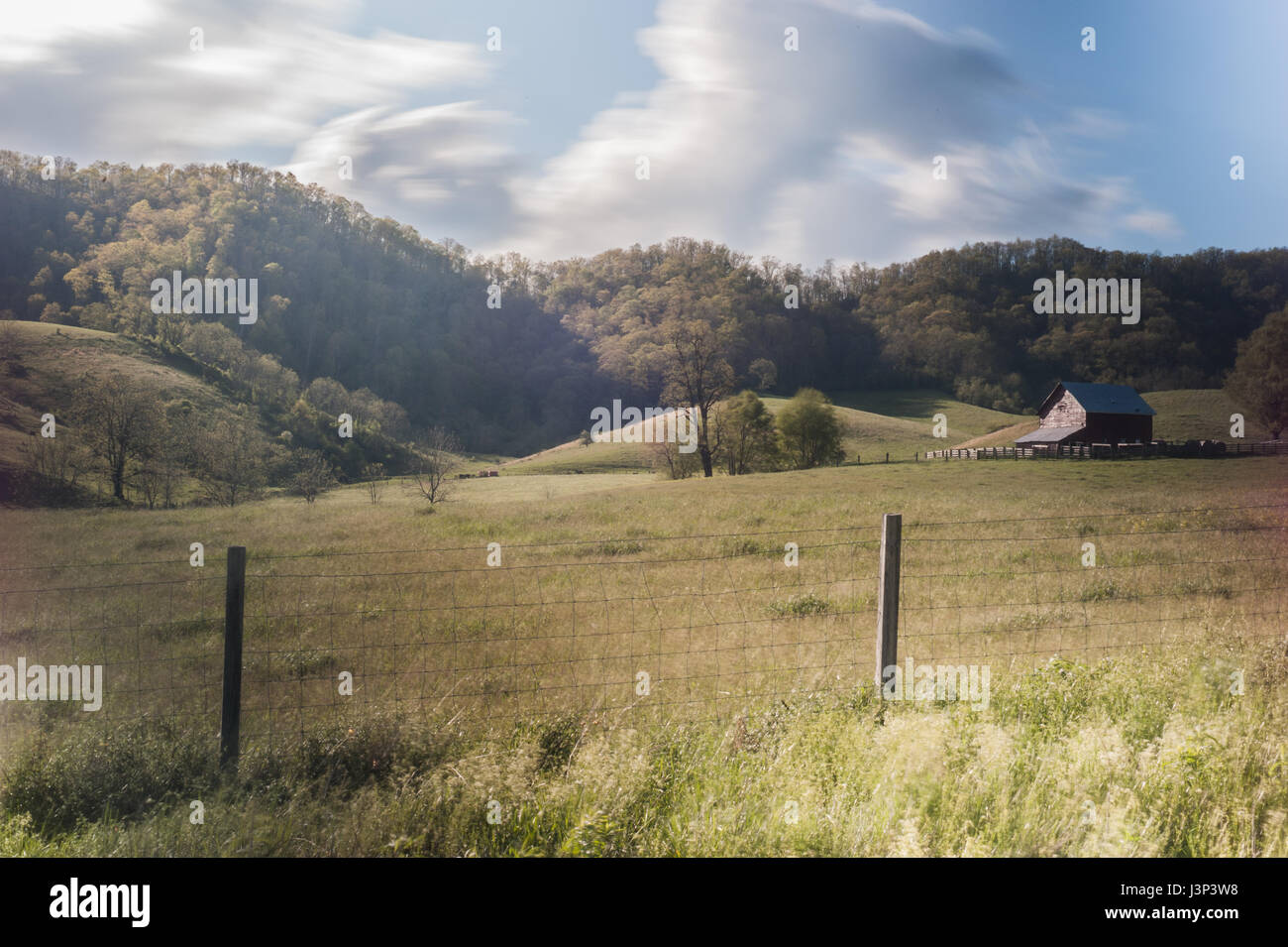 Farm and fence in rural virginia. - Stock Image