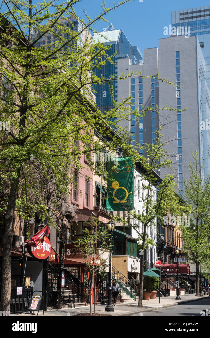 Restaurant Row, West 46th Street, NYC, USA - Stock Image