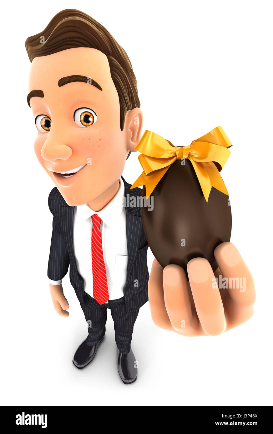 3d businessman holding easter egg, illustration with isolated white background Stock Photo