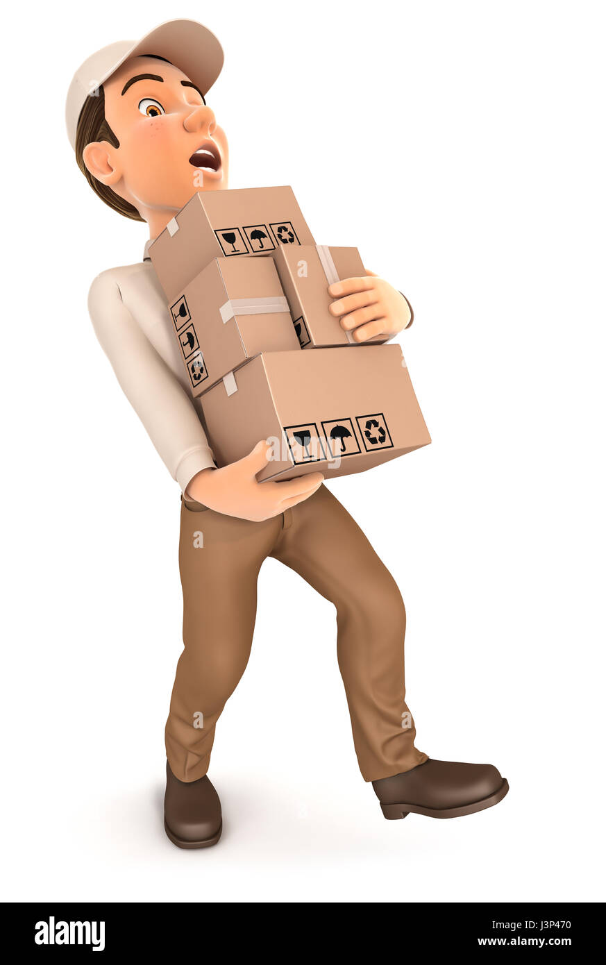 3d delivery man overworked, illustration with isolated white background Stock Photo