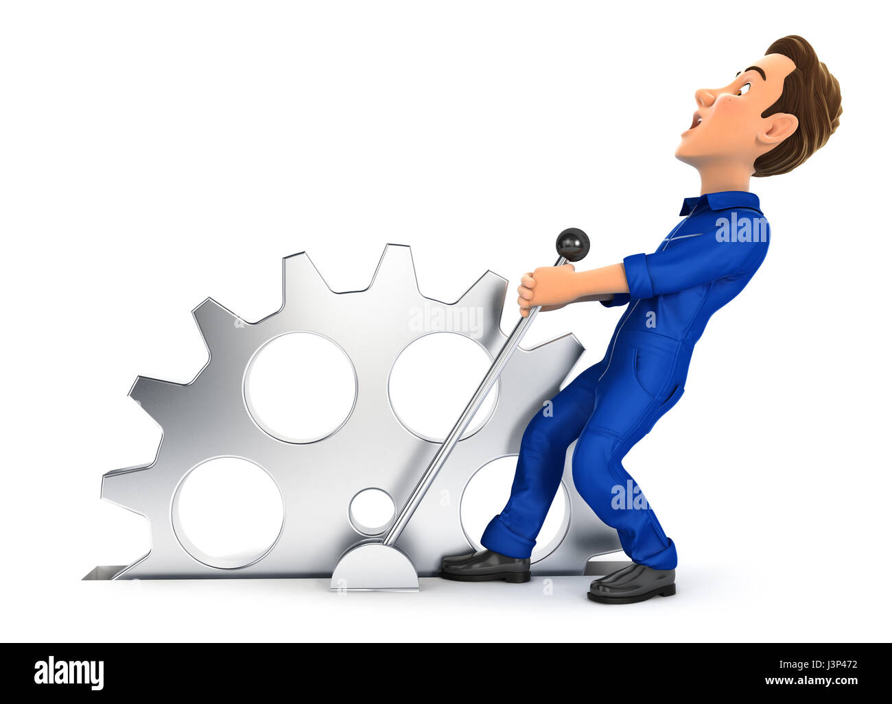 3d mechanic pulling a lever, illustration with isolated white background Stock Photo