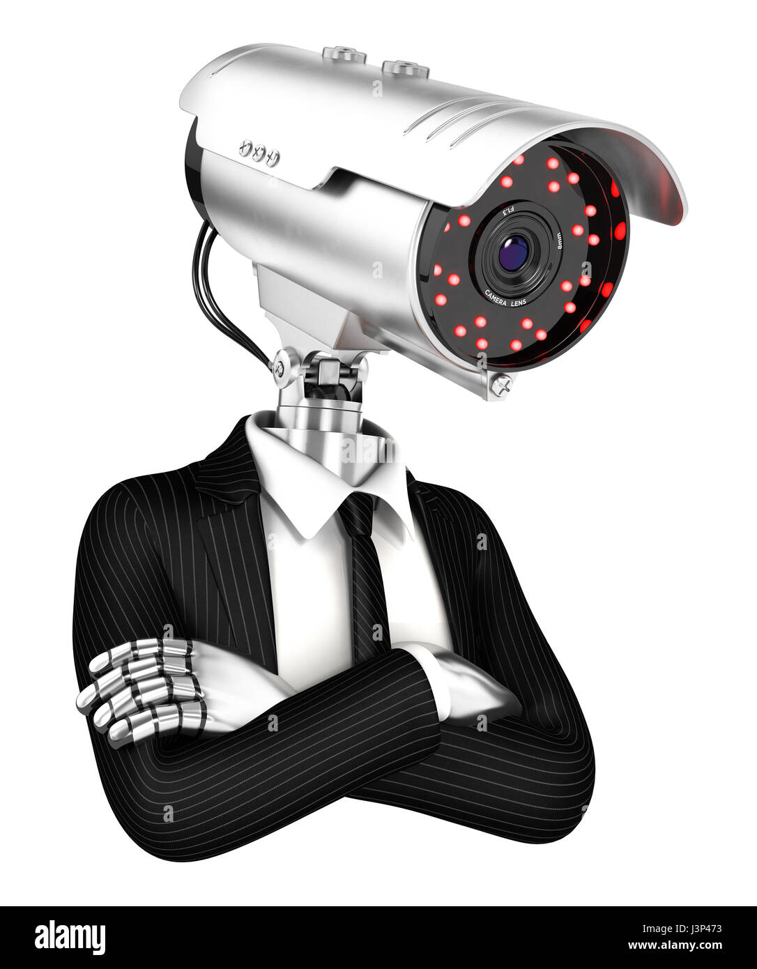 3d security agent with camera head, illustration with isolated white background Stock Photo