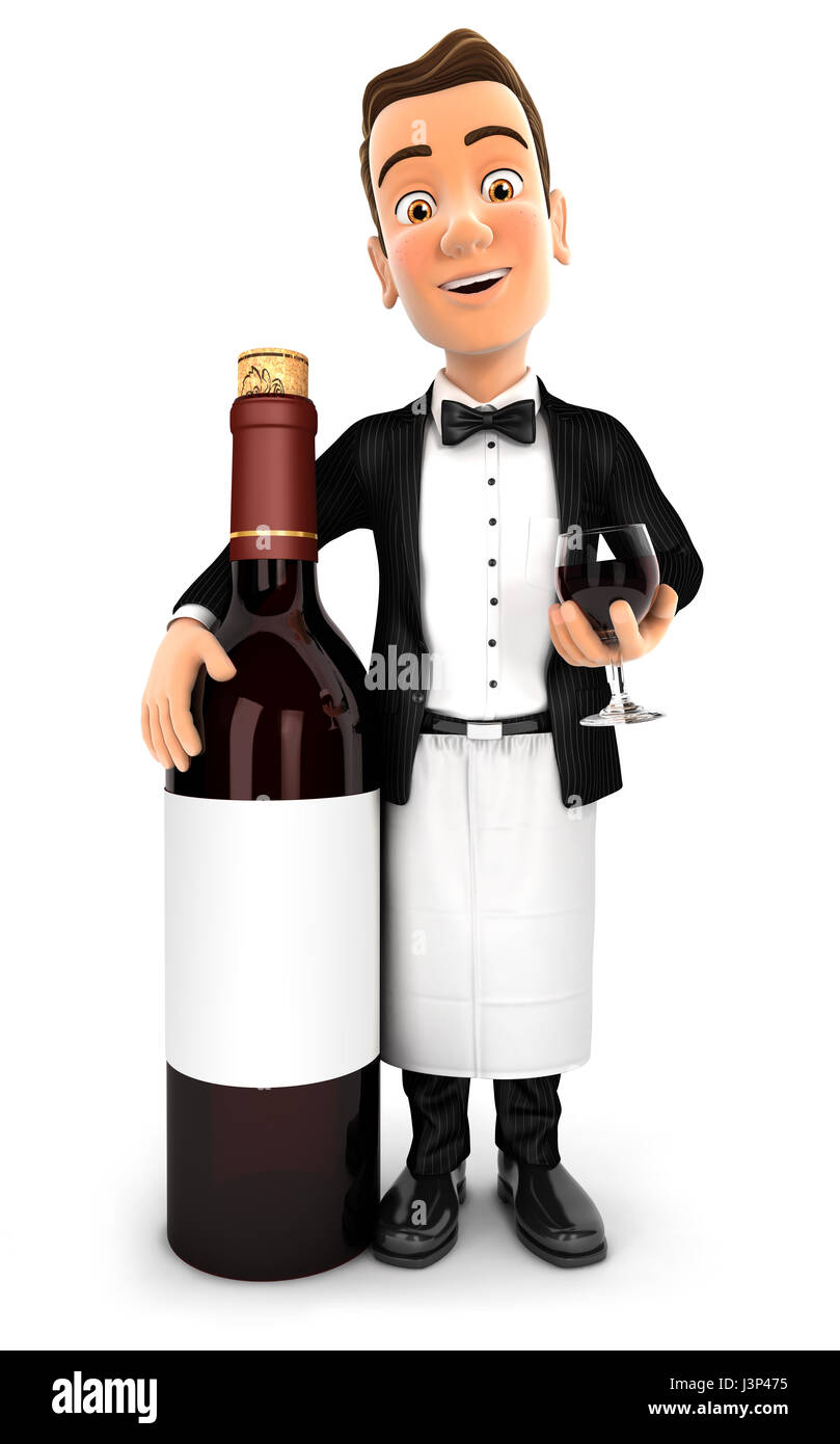 3d waiter standing next to red wine bottle, illustration with isolated white background Stock Photo