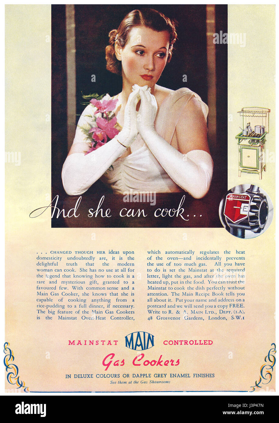 1937 British advertisement for Main Gas Cookers. - Stock Image