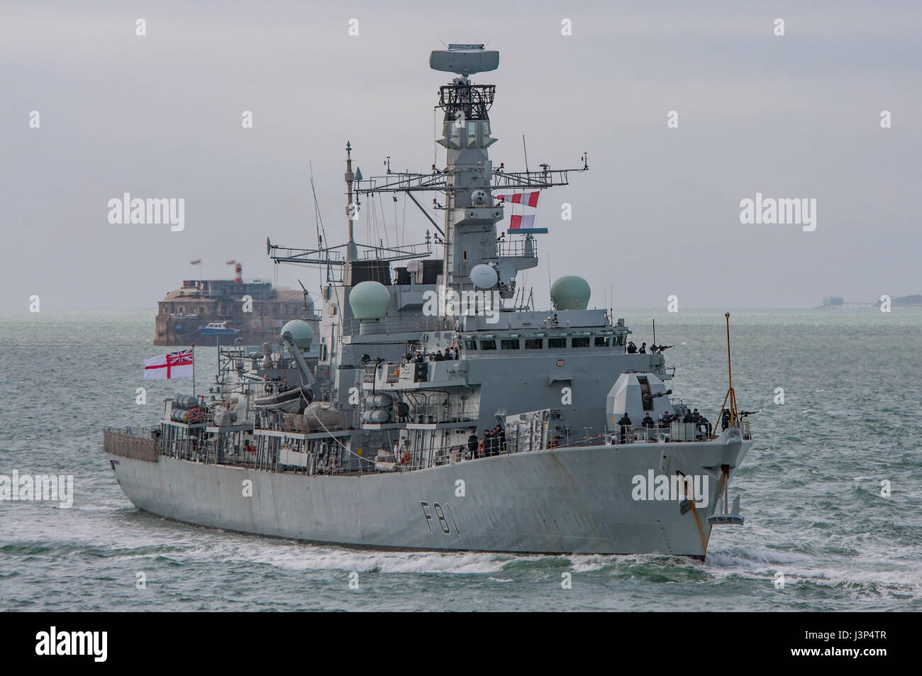 The British Royal Navy Type 23 frigate HMS Sutherland (The Fighting Clan) arriving at Portsmouth, UK on the 17th - Stock Image