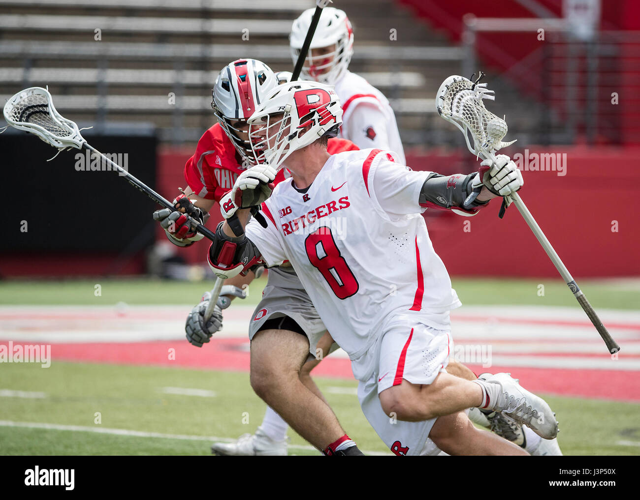 Lacrosse match between Ohio State and Rutgers at High Point Solutions Stadium in Piscataway, New Jersey - Stock Image