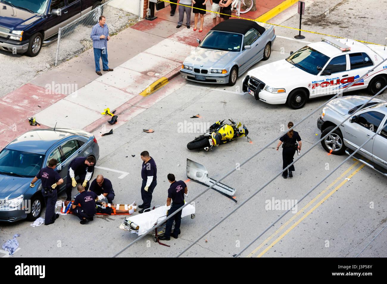 Miami Beach Florida Ocean Drive motorcycle accident collision scene ...