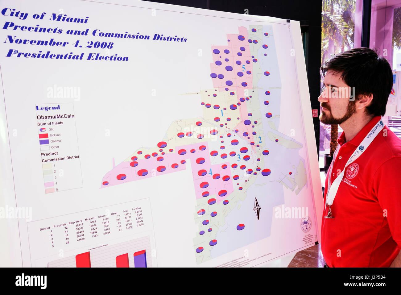 MiamiMiami Florida Riverside Center Geographic Information System Day GIS geography technology man beard Fugro EarthData - Stock Image
