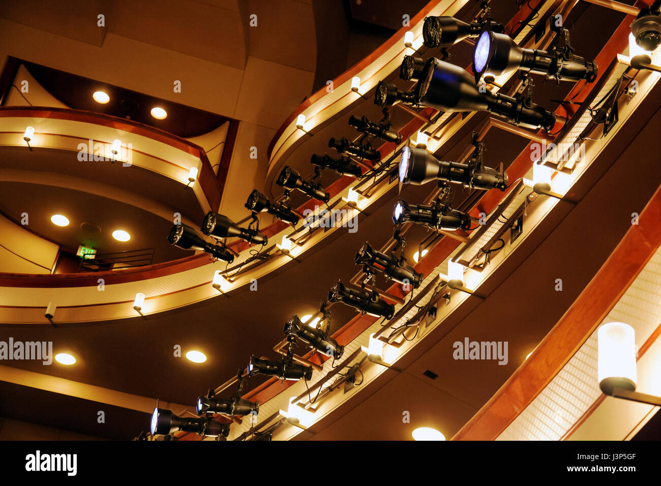 Miami Florida Adrienne Arsht Center opera house theater balconies lights theatrical lighting equipment stage lighting Cesar Pell & Miami Florida Adrienne Arsht Center opera house theater balconies ...