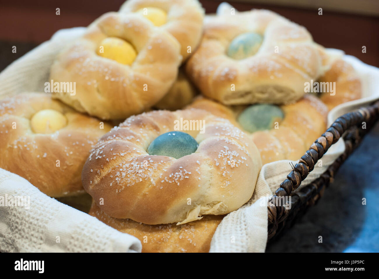 Basket of Baked Italian Sweet Bread Loaves - Stock Image