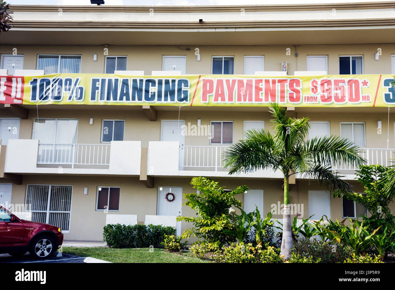 Miami Florida building apartments condominium real estate housing 100% financing mortgage banner sale sell incentive Stock Photo