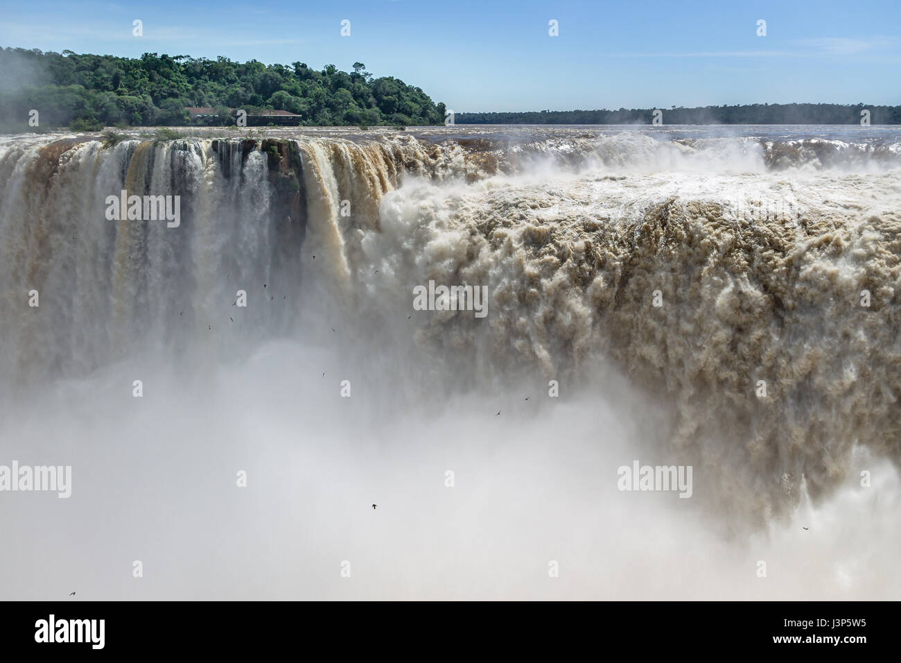 The Devils Throat at Iguazu Falls view from argentinian side - Brazil and Argentina Border - Stock Image