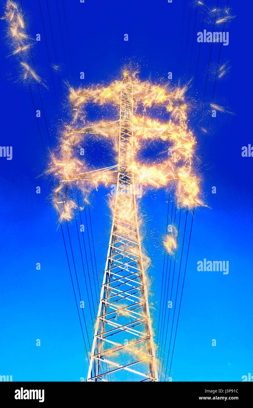 Digitally enhanced image of high voltage power lines and pylon. - Stock Image