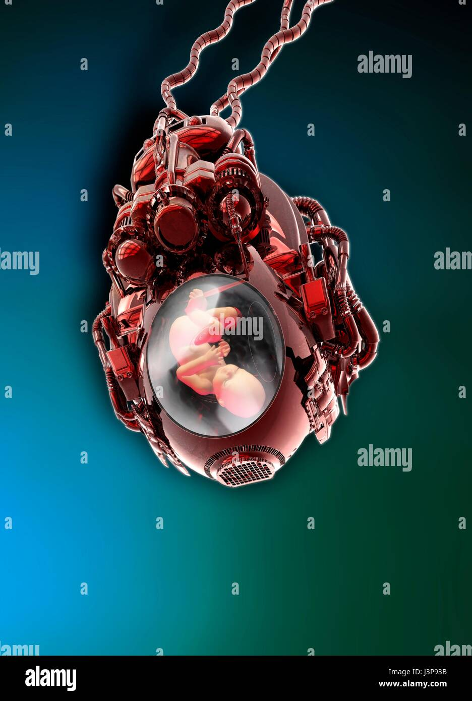 Artificial womb with human embryo, illustration. - Stock Image