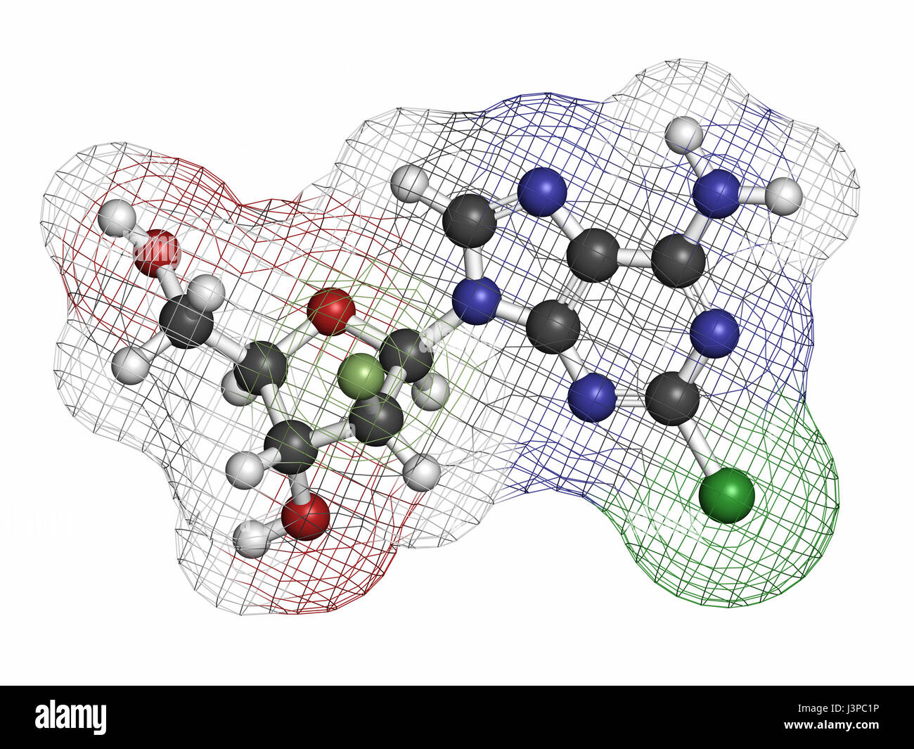 Clofarabine cancer drug molecule (purine nucleoside antimetabolite). Atoms are represented as spheres with conventional - Stock Image