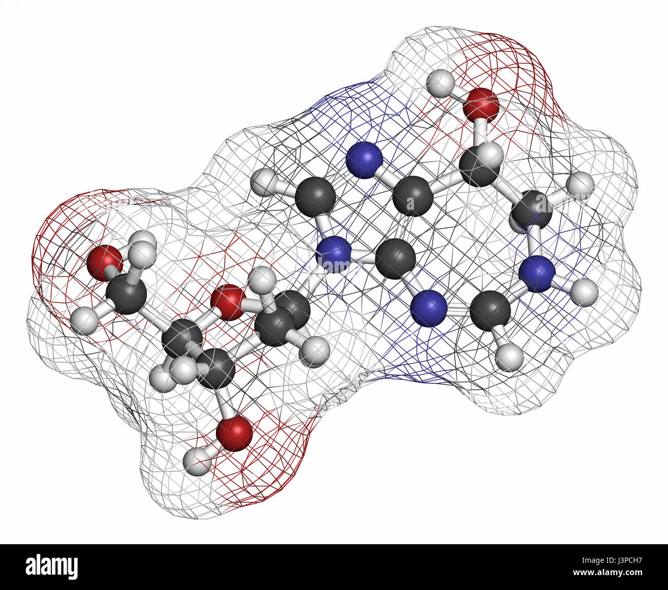 Pentostatin cancer drug molecule. Atoms are represented as spheres with conventional color coding: hydrogen (white), - Stock Image