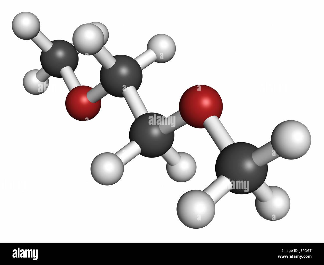 Dimethoxyethane (glyme, monoglyme, dimethyl glycol, DME) molecule. Atoms are represented as spheres with conventional - Stock Image