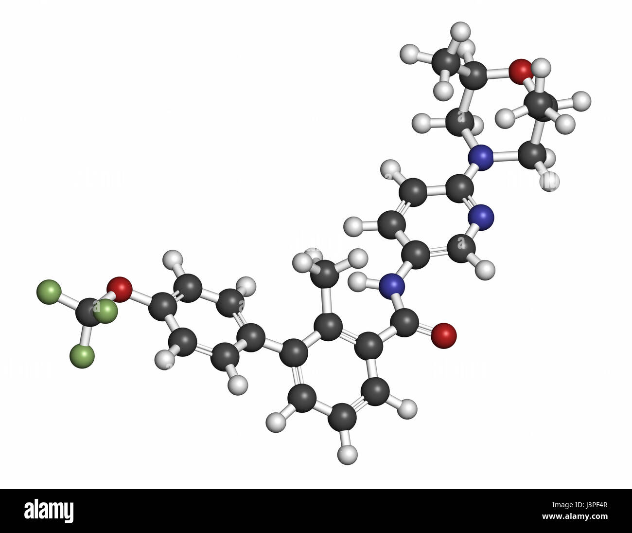 Sonidegib cancer drug molecule. Atoms are represented as spheres with conventional color coding: hydrogen (white), - Stock Image