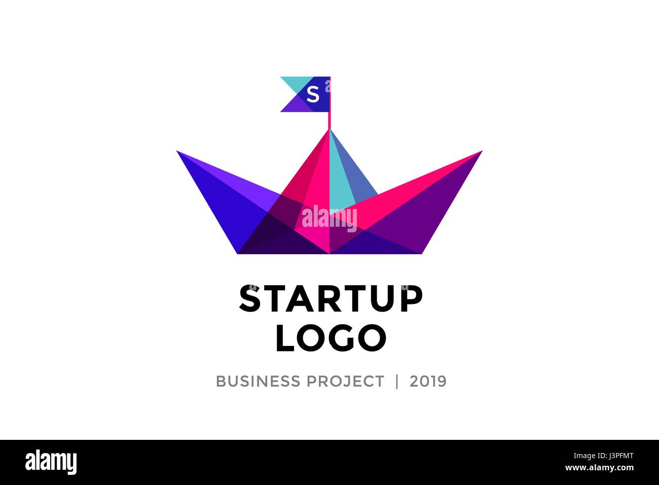Design Template Of Colorful Paper Boat With Inscription Startup Logo