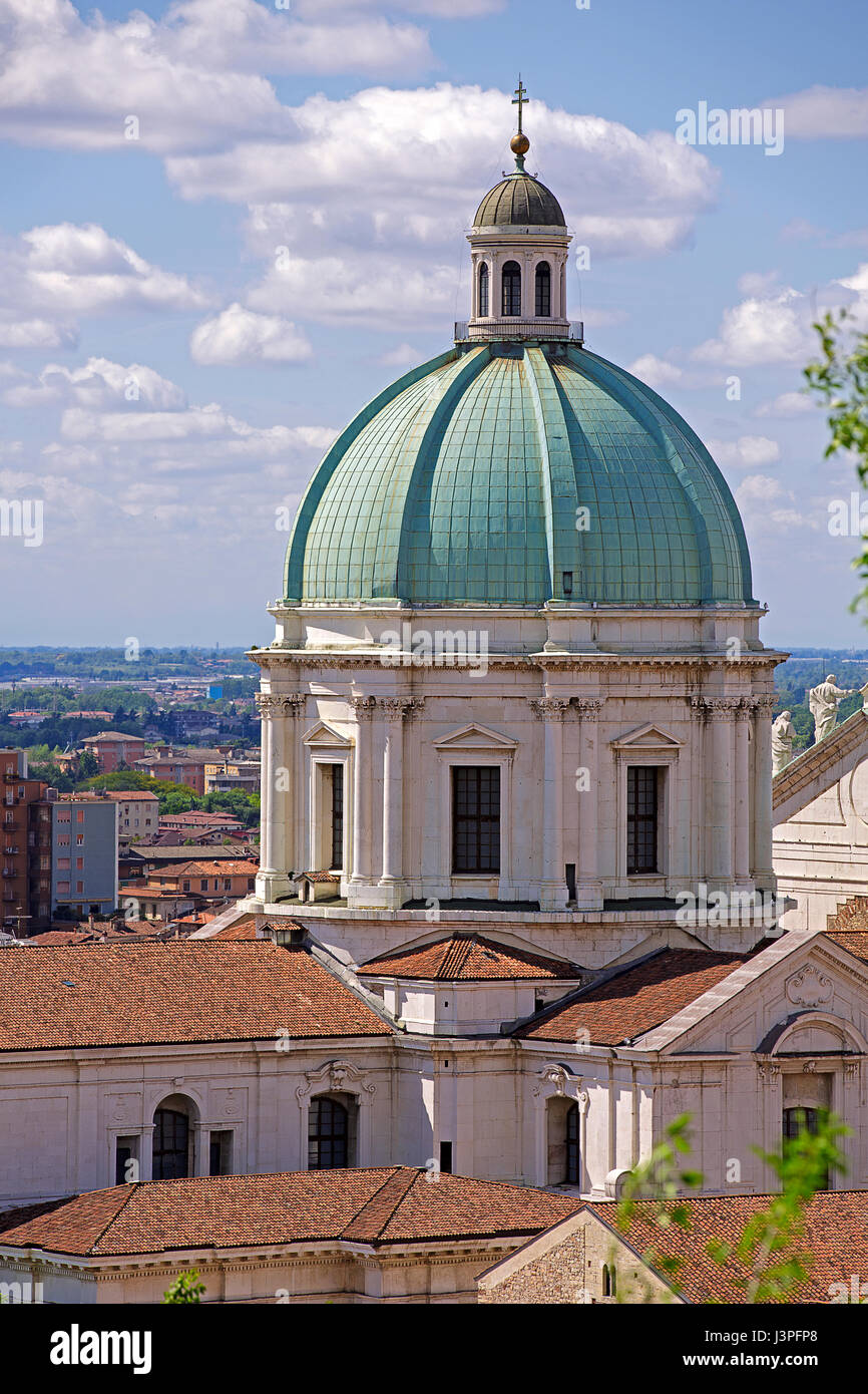 The Duomo cupola over the town in morning light. Brescia, Lombardy-Italy Stock Photo