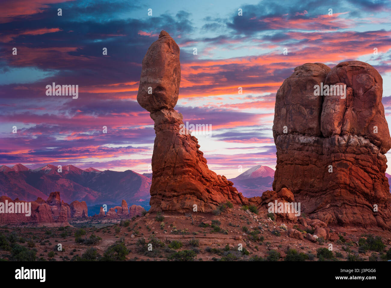 Balanced Rock is one of the most popular features of Arches National Park, situated in Grand County, Utah, United - Stock Image