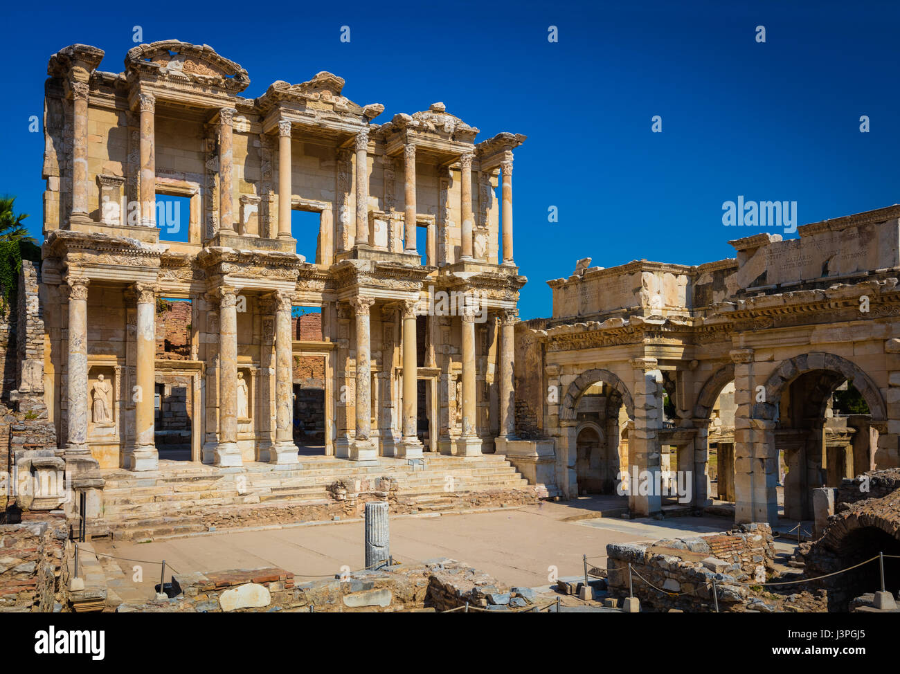 The library of Celsus is an ancient Roman building in Ephesus, Anatolia, now part of Selçuk, Turkey. It was - Stock Image