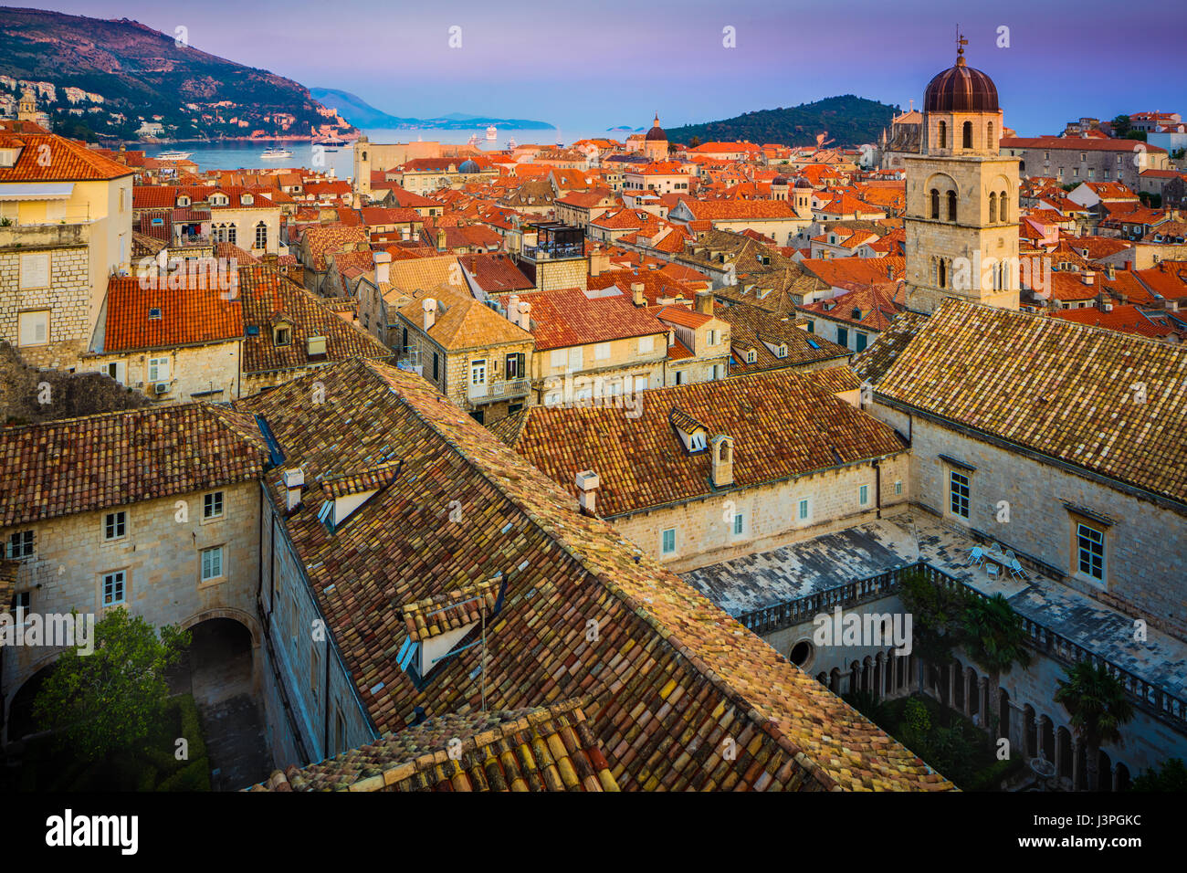 Dubrovnik, Croatia, with its characteristic medieval city walls. Dubrovnik is a Croatian city on the Adriatic Sea, - Stock Image