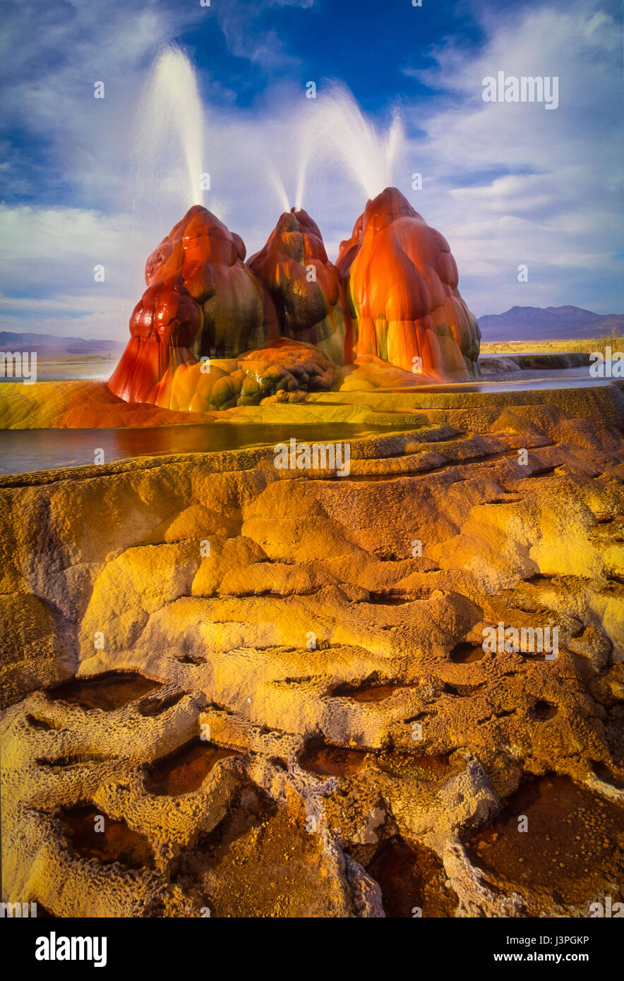 The continuous Fly Geyser of Fly Ranch is on private land in Nevada and began during 1916 when a water well drilling - Stock Image
