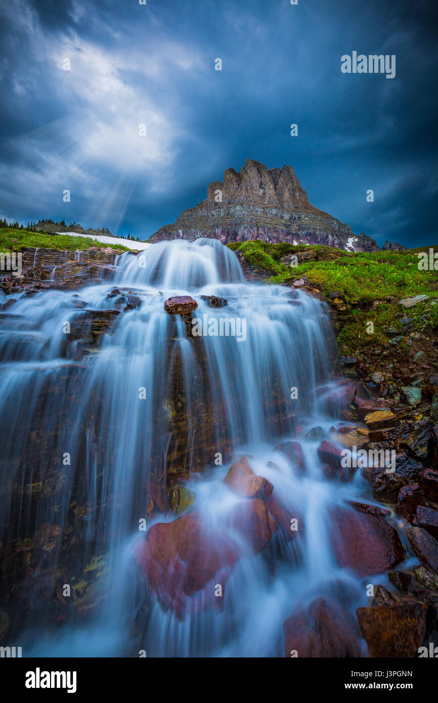 Glacier National Park is a national park located in the U.S. state of Montana, on the Canada–United States border - Stock Image